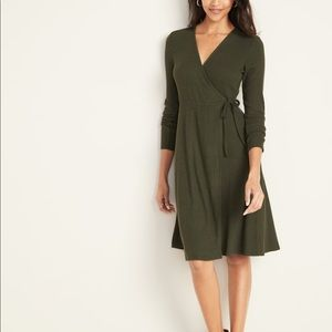 Old Navy Fit & Flare Wrap-Front Rib-Knit Dress